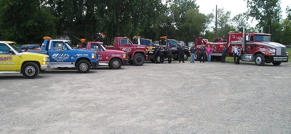 Row of tow trucks